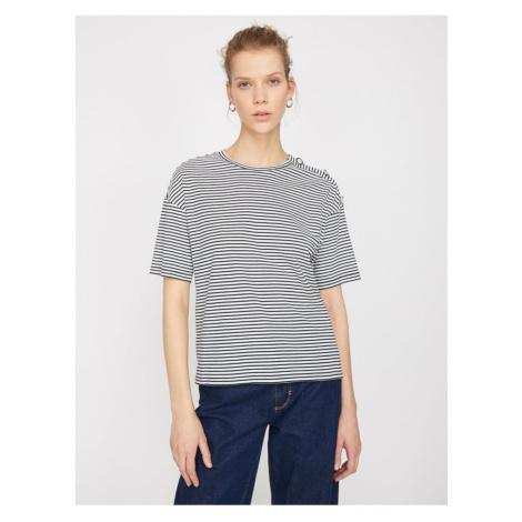 Koton Women's Navy Blue Striped T-Shirt