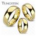 Prsten z wolframu zlaté barvy, lesklý a hladký povrch, 4 mm