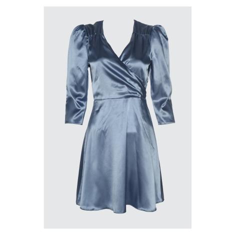 Trendyol Blue Collar Ruffle Satin Dress