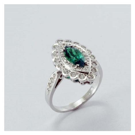 Smaragdový prsten s diamanty 24474