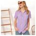 Blancheporte Pruhovaná košilová halenka bílá/šeříková