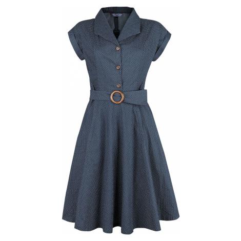 Banned Retro Spot Perfection Fit & Flare Dress Šaty námořnická modrá