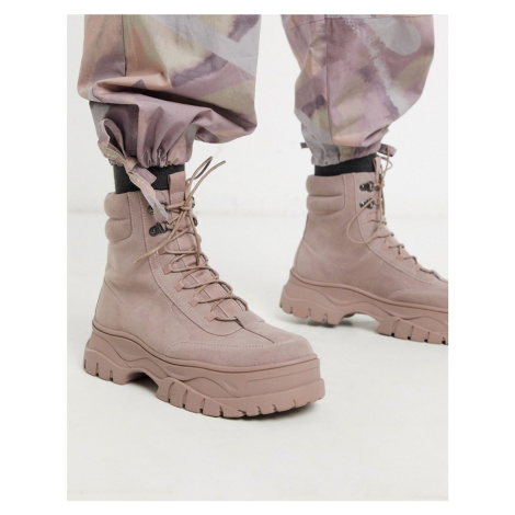 ASOS DESIGN lace up boot in pink faux nubuck with chunky sole