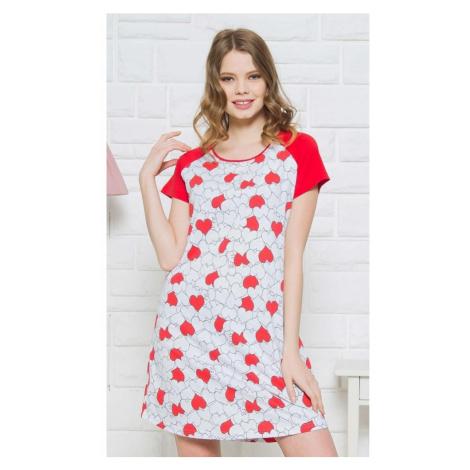Dámská noční košile s krátkým rukávem Srdíčka, XL, červená Vienetta Secret