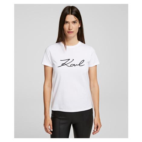 Tričko Karl Lagerfeld Logo Rhinestone T-Shirt - Bílá