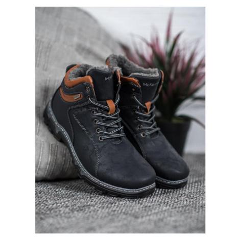 Klasické dámské  trekingové boty modré na plochém podpatku McKeylor