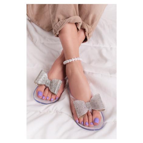 Transparentní gumové pantofle s mašlí Ryna