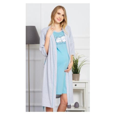Dámský župan s mateřskou košilí Koťata, XL, šedá/lososová Vienetta Secret