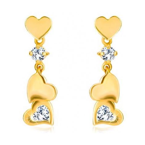 Diamantové náušnice ze zlata 585 - drobné symetrické srdíčko s přívěskem Šperky eshop