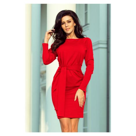 Červené dámské šaty se širokým páskem k zavazování model 7007561 NUMOCO