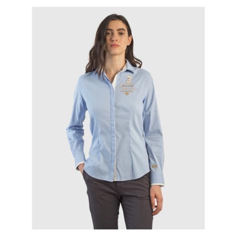 Košile La Martina Woman Shirt L/S Silky Poplin - Modrá