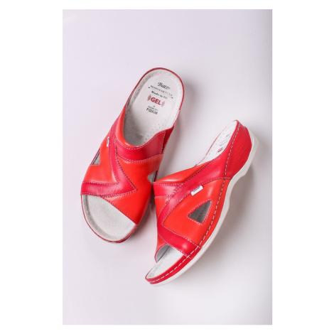 Dámské červené kožené zdravotní pantofle Viki Batz