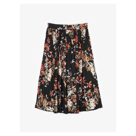 GATE Plisovaná květovaná midi sukně