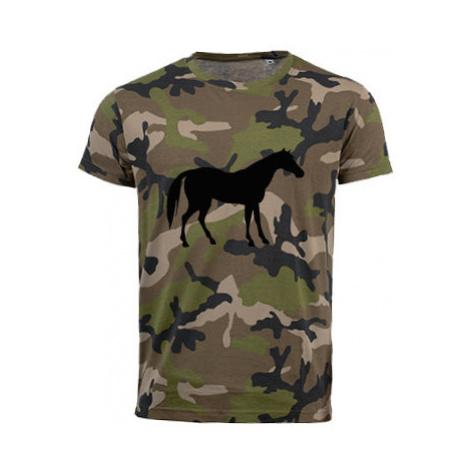 Pánské maskáčové tričko Kůň
