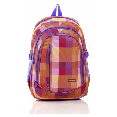 Orange school backpack with a colorful checked pattern Fashionhunters