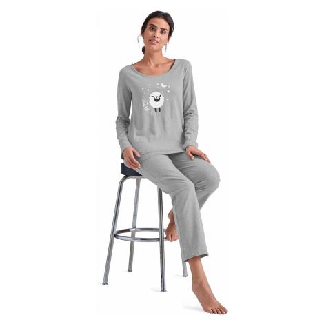 Blancheporte Pyžamo s potiskem ovečky šedý melír