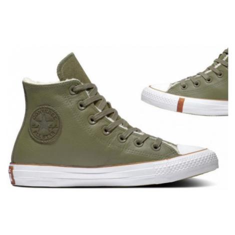 Converse CHUCK TAYLOR ALL STAR FAUX SHEARLING tmavě zelená - Dámské zimní tenisky