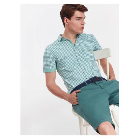 Top Secret Košile pánská MINT kostkovaná s krátkým rukávem
