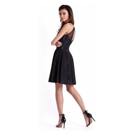 Dámské klasické šaty s kolovou sukní v černé lesklé barvě 237 IVON