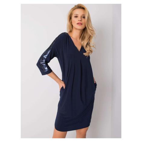 Modré dámské šaty s flitry NU-SK-1430.12-blue BASIC