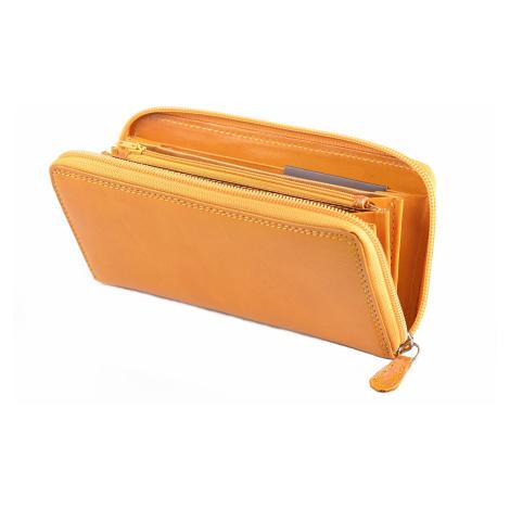 Dámská kožená peněženka na šířku zipová vybavená žlutá, 19 x 1 x 10 (SB00-V923-06KUZ)