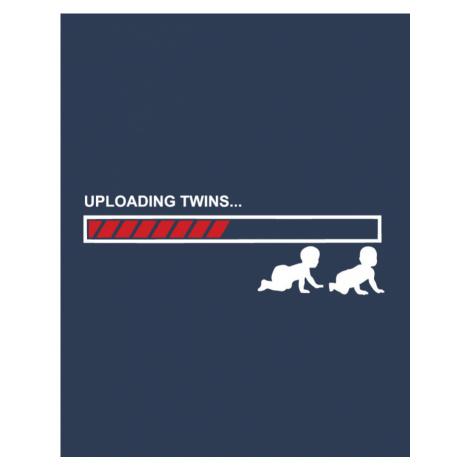 Těhotenské tričko s motivem Uploading twins... - tričko se dvojčátky BezvaTriko