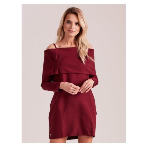 Women´s burgundy dress with a wide frill Fashionhunters