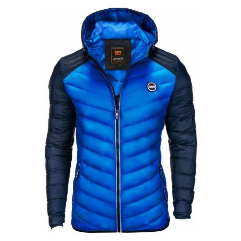 Pánská prošívaná zimní bunda Freud modrá Ombre Clothing
