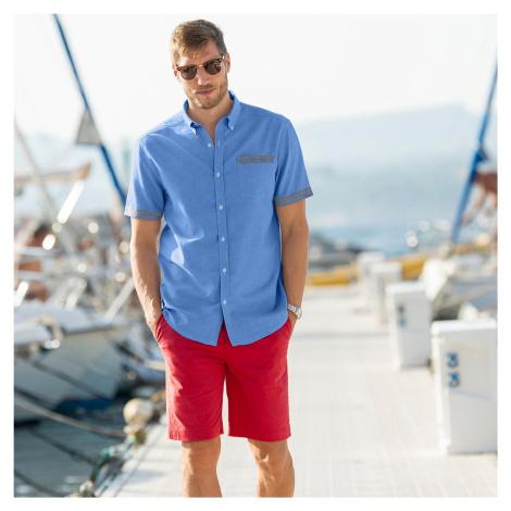 Blancheporte Jednobarevná košile oxford s krátkými rukávy modrá