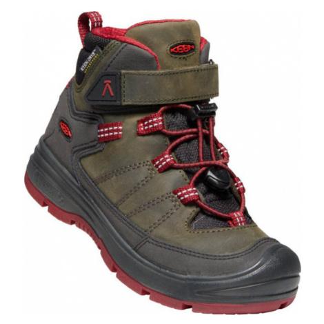 KEEN REDWOOD MID WP C Dětská zimní obuv 10007972KEN01 steel grey/red dahlia
