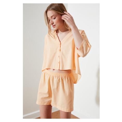 Trendyol Peach Trojan Arm Woven Pajama Set