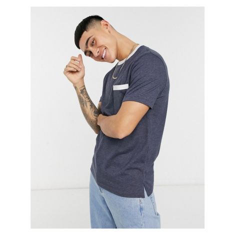 ASOS DESIGN navy marl t-shirt with contrast ringer and pocket