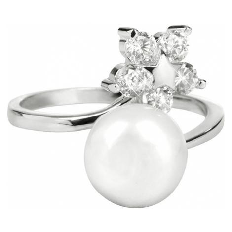 JwL Luxury Pearls Stříbrný prsten s pravou perlou a čirými krystaly JL0322