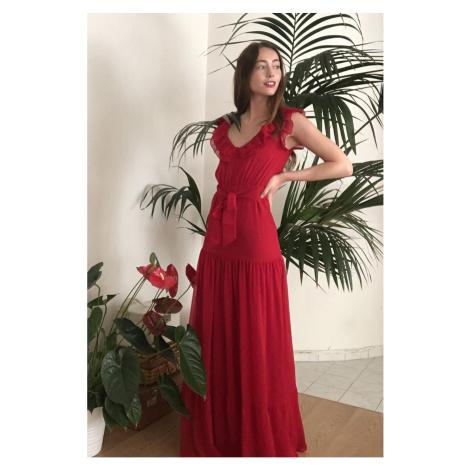Trendyol Red BeltRuff Detailed Evening Dress & Graduation Dress