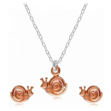 Sada ze stříbra 925 - náhrdelník a náušnice, šneček s ulitou v měděné barvě Šperky eshop