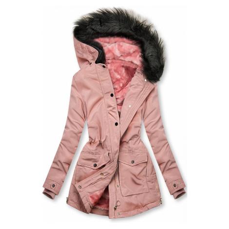 Růžová bunda zateplena plyšem Butikovo
