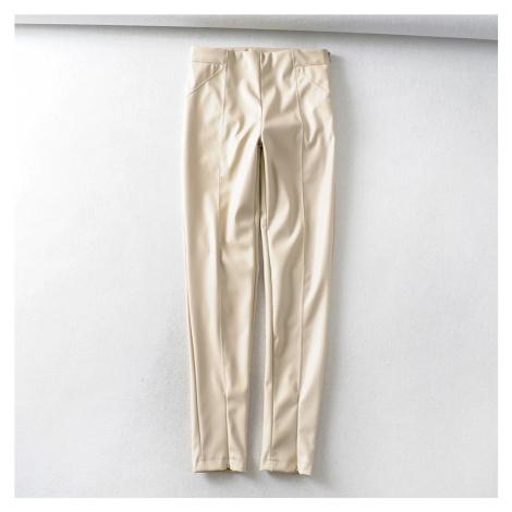 Modní úzké kalhoty z umělé kůže červené