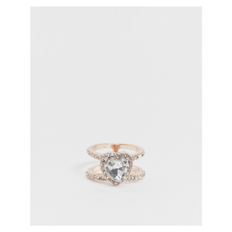 ASOS DESIGN ring with heart crystal in rose gold tone-Copper