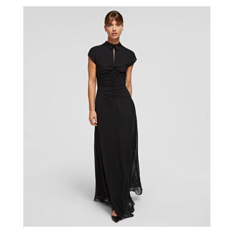 Šaty Karl Lagerfeld Silk Maxi Dress W/ Gathering - Černá