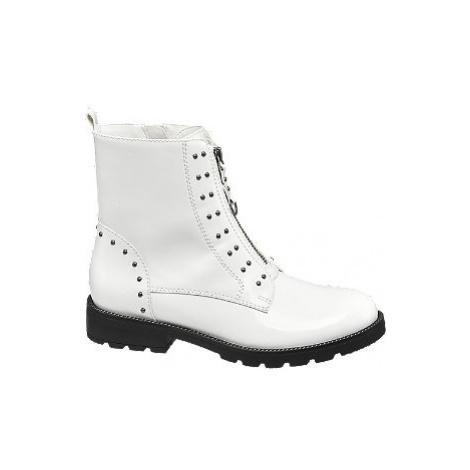 Bílá šněrovací obuv se zipem Catwalk