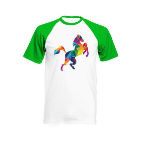 Pánské tričko Baseball Kůň z polygonů