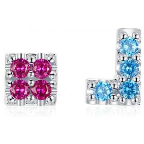 Linda's Jewelry Stříbrné náušnice pecky Tetris Ag 925/1000 IN151