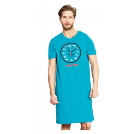 Pánská noční košile Vienetta Secret Kamasutra clock | tmavě tyrkysová