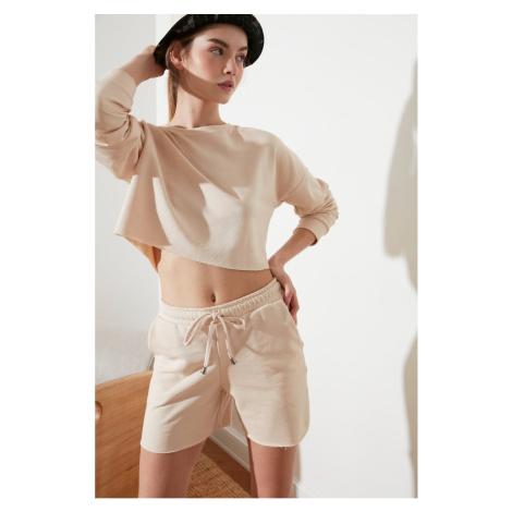 Trendyol Beige Crop Knitted Sweatshirt