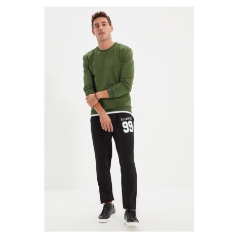 Trendyol Black Men Regular Fit Rubber Leg Printed Sweatpants