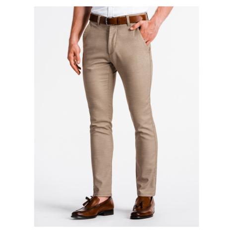 Pánské chinos kalhoty Luguen hnědé Ombre Clothing