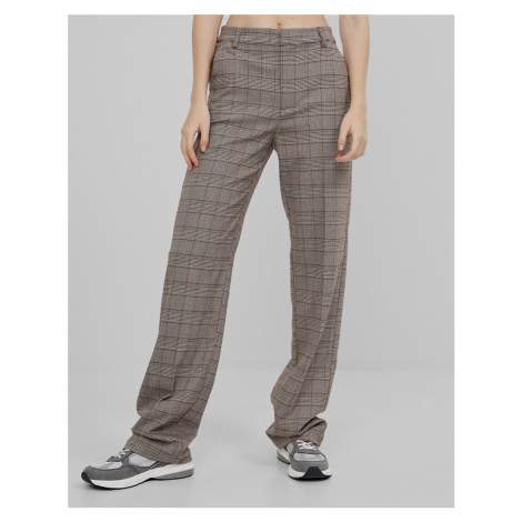 Bershka recycled polyester slouchy tailored check trouser in brown