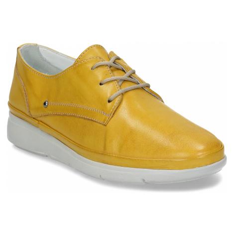 Žluté dámské kožené polobotky Baťa