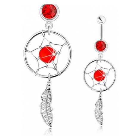 Piercing do bříška, chirurgická ocel, lapač snů, pírko, červený zirkon a korálek Šperky eshop