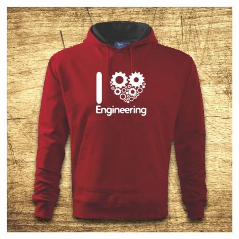Mikina s kapucňou s motívom I love engineering BezvaTriko